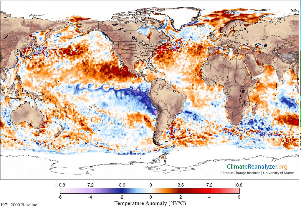 Temperatuurafwijking van het zeewater.
