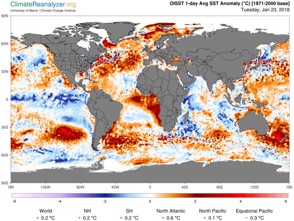 Temperatuuranomalie van het zeewater.