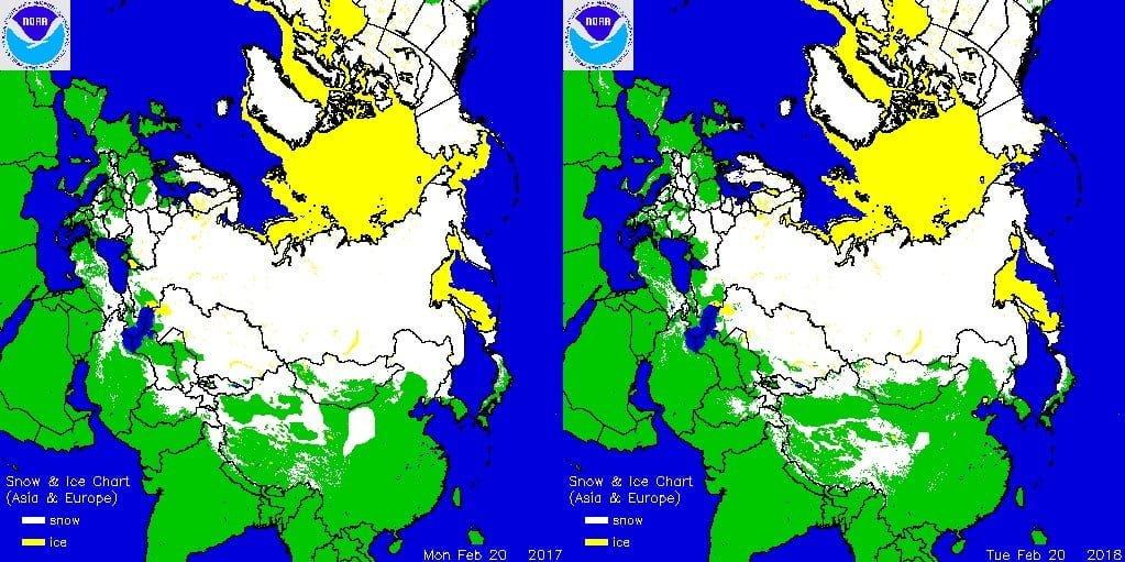 Sneeuwdek in Eurazië