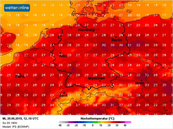 Temperatuurkaart woensdag