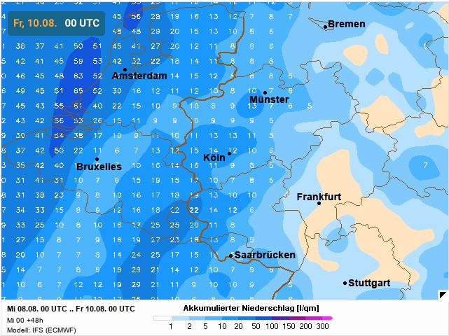 neerslaghoeveelheid volgens europees weermodel