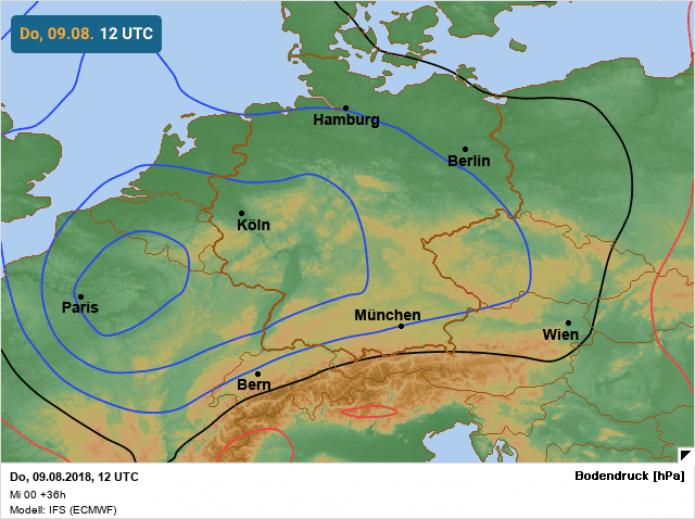 situatie windstoten door europees weermodel middag