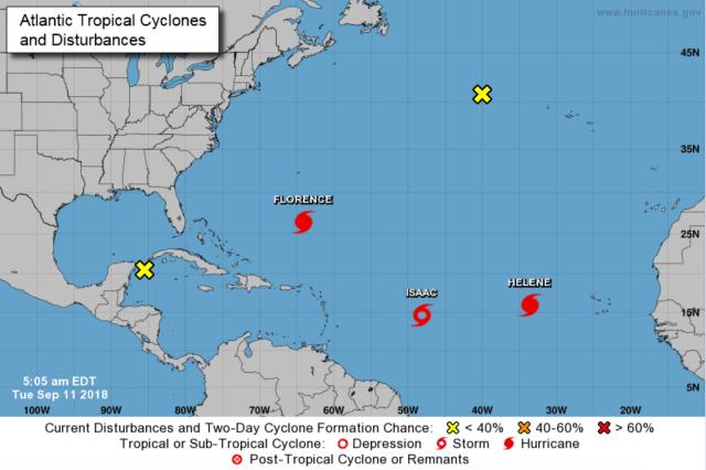 3 actieve orkanen op de Atlantische Oceaan