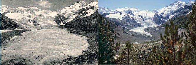 Morteratsch gletsjer in 1911 en 2015