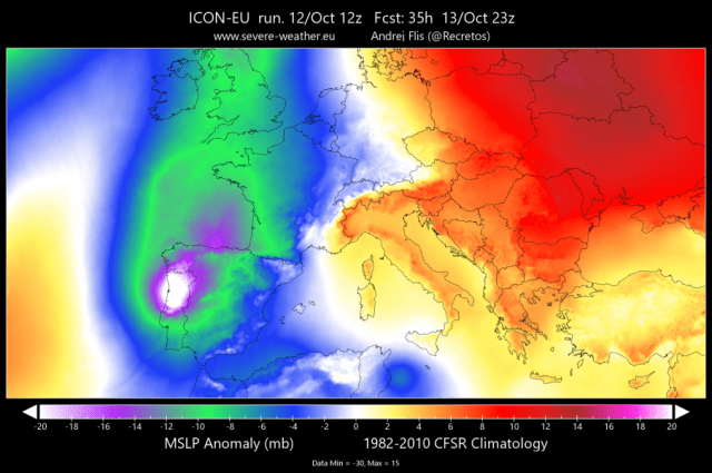 afwijking luchtdruk orkaan Leslie in Europa