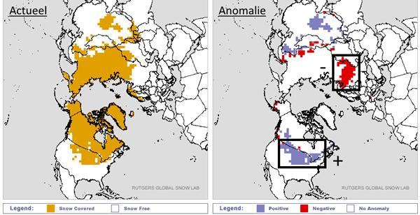 Actuele sneeuwbedekking op het noordelijk halfrond en afwijking ten opzichte van normaal.