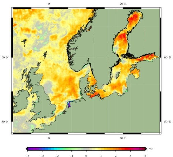 Afwijking van de zeewater temperatuur.