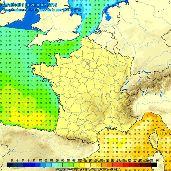 Actuele zeewatertemperaturen in West-Europa.