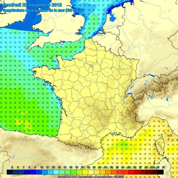 Temperaturen van het zeewater.