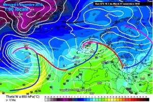 Fronten op basis van Theta-W op een kaart van GFS18 van 27 november