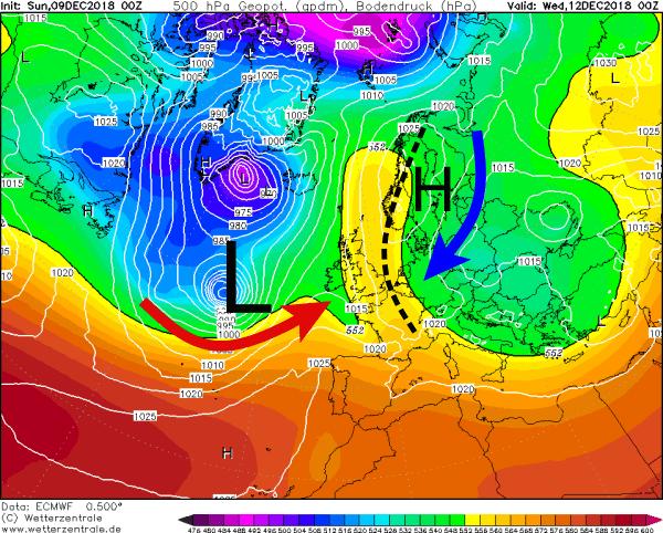 De clash tussen koude lucht uit het noordoosten en zachte lucht vindt plaats boven de Benelux. Daarom is de verwachting zo onzeker.