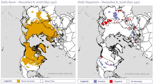Sneeuwdek en anomalie op het noordelijke halfrond.