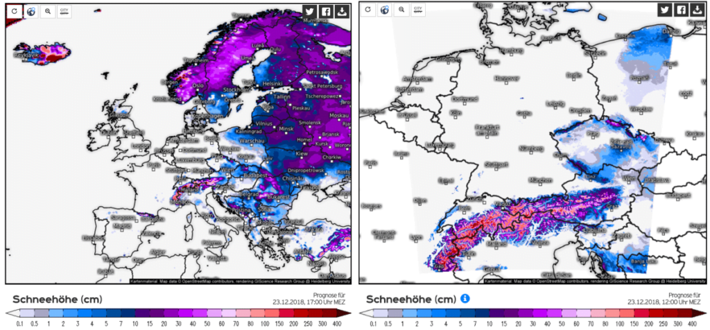 Actuele sneeuwhoogte in Europa en meer specifiek de Alpen