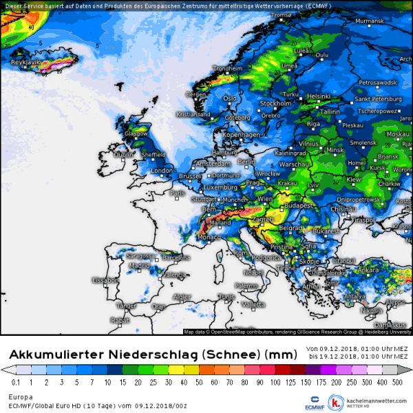 Sneeuwverwachting komende dagen voor Europa