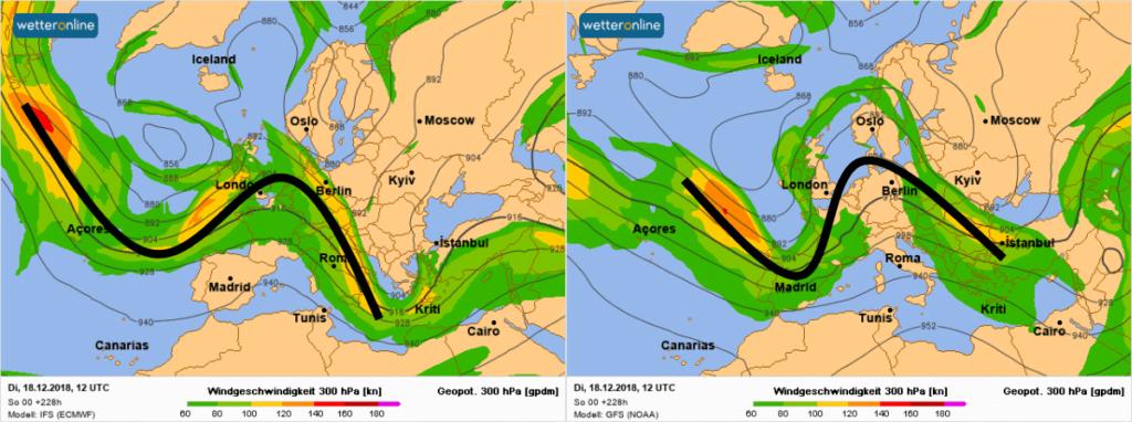 De straalstroom volgens ECMWF en GFS.