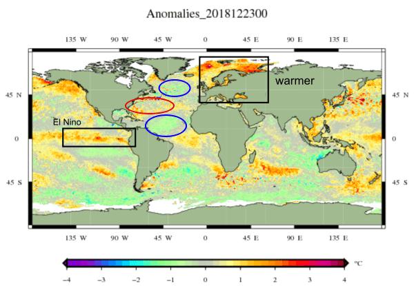 Anomalie van de zeewater temperaturen over de hele wereld.